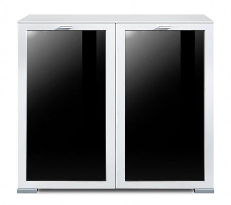 Komoda Gallery Plus 13 (biela/sklo čierne)