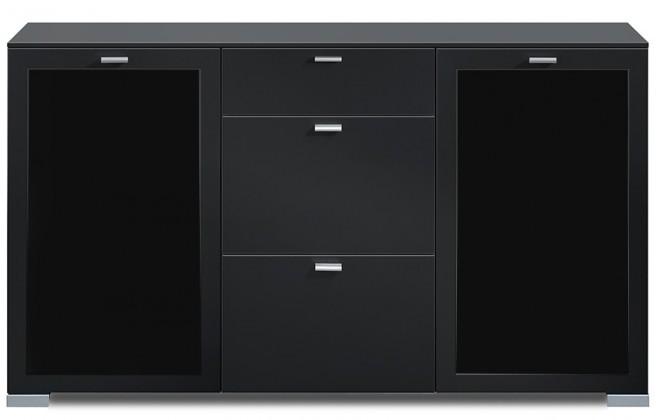 Komoda Gallery Plus 17 (černá/sklo čierne)