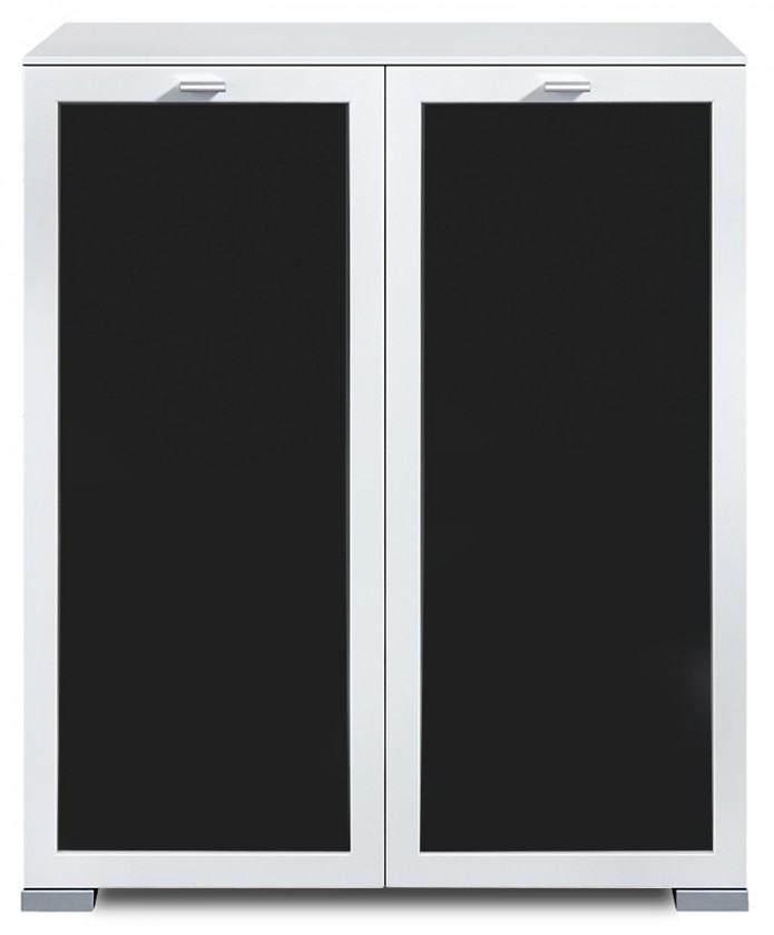 Komoda Gallery Plus 3 (biela/sklo čierne)