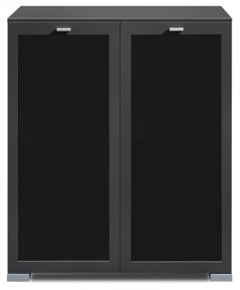 Komoda Gallery Plus 3 (černá/sklo čierne)