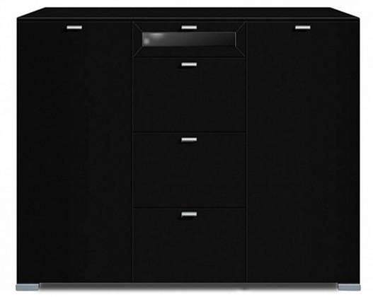 Komoda Gallery Plus 7 (černá/sklo čierne)
