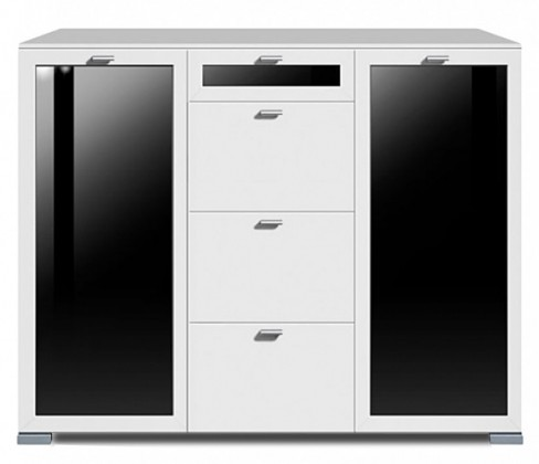 Komoda Gallery Plus 9 (biela/sklo čierne)