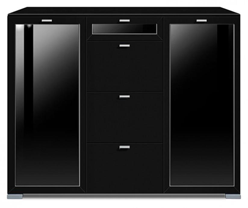 Komoda Gallery Plus 9 (černá/sklo čierne)