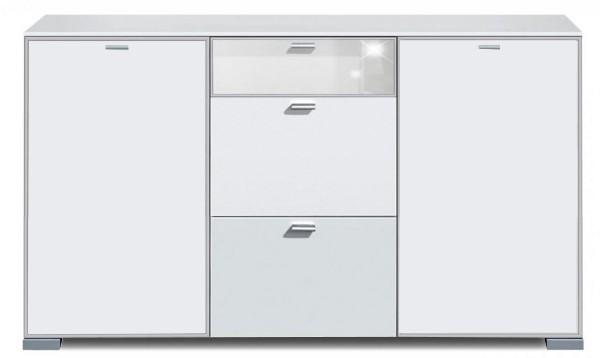 Komoda Gallery Super Plus 16 - Komoda (biela/sklo číre biele)