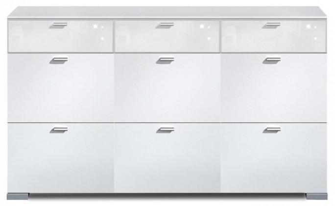 Komoda Gallery Super Plus 19 - Komoda (biela/sklo číre biele)