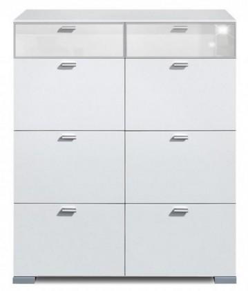 Komoda Gallery Super Plus 5 - Komoda (biela/sklo číre biele)