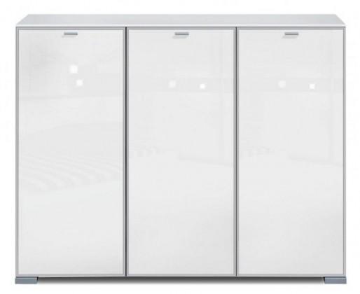 Komoda Gallery Super Plus 6 - Komoda (biela/sklo číre biele)