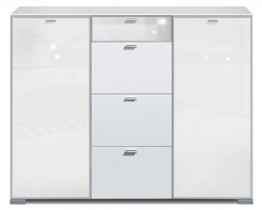 Komoda Gallery Super Plus 9 - Komoda (biela/sklo číre biele)