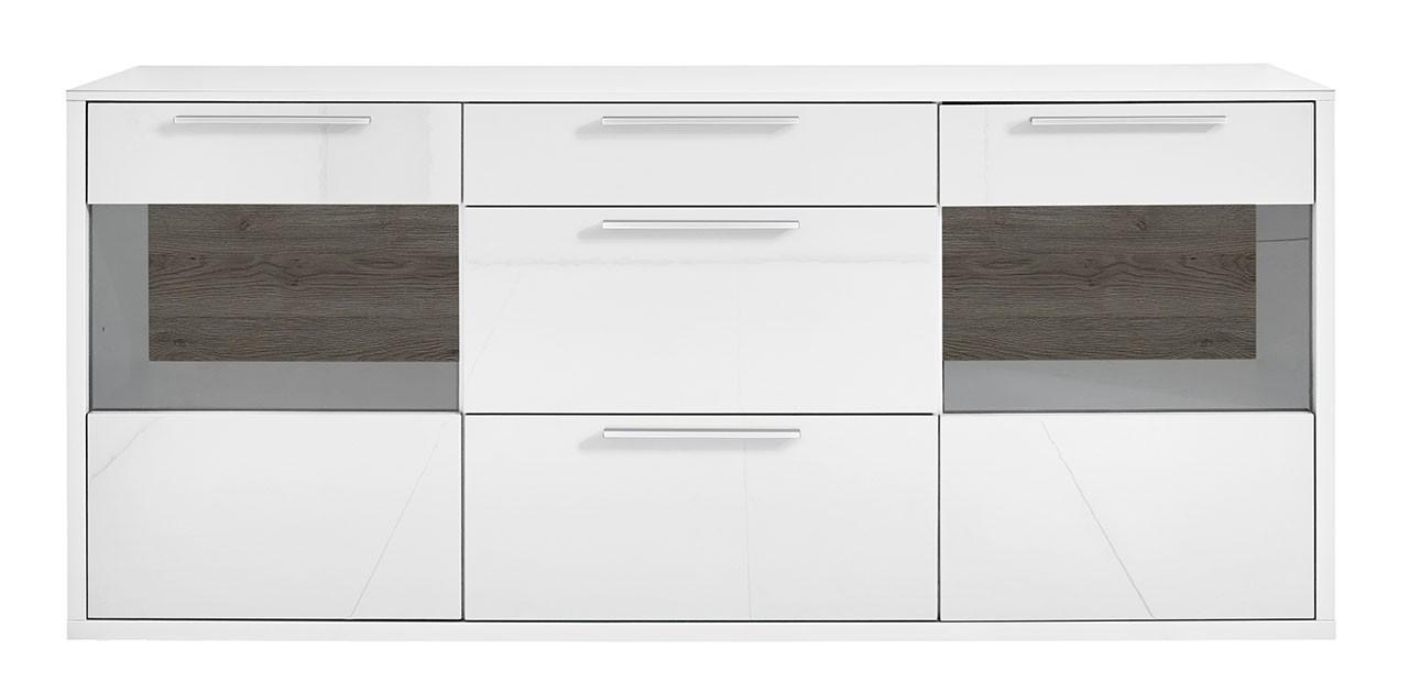 Komoda Gamble - Komoda 570719 (biela/biela lesk/panel dub tmavý HN)