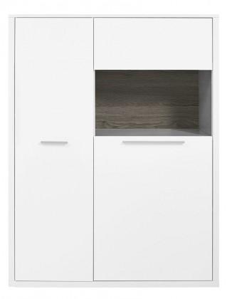 Komoda Gamble - Komoda pravá 570723R (biela/biela lesk/panel dub tmavý)