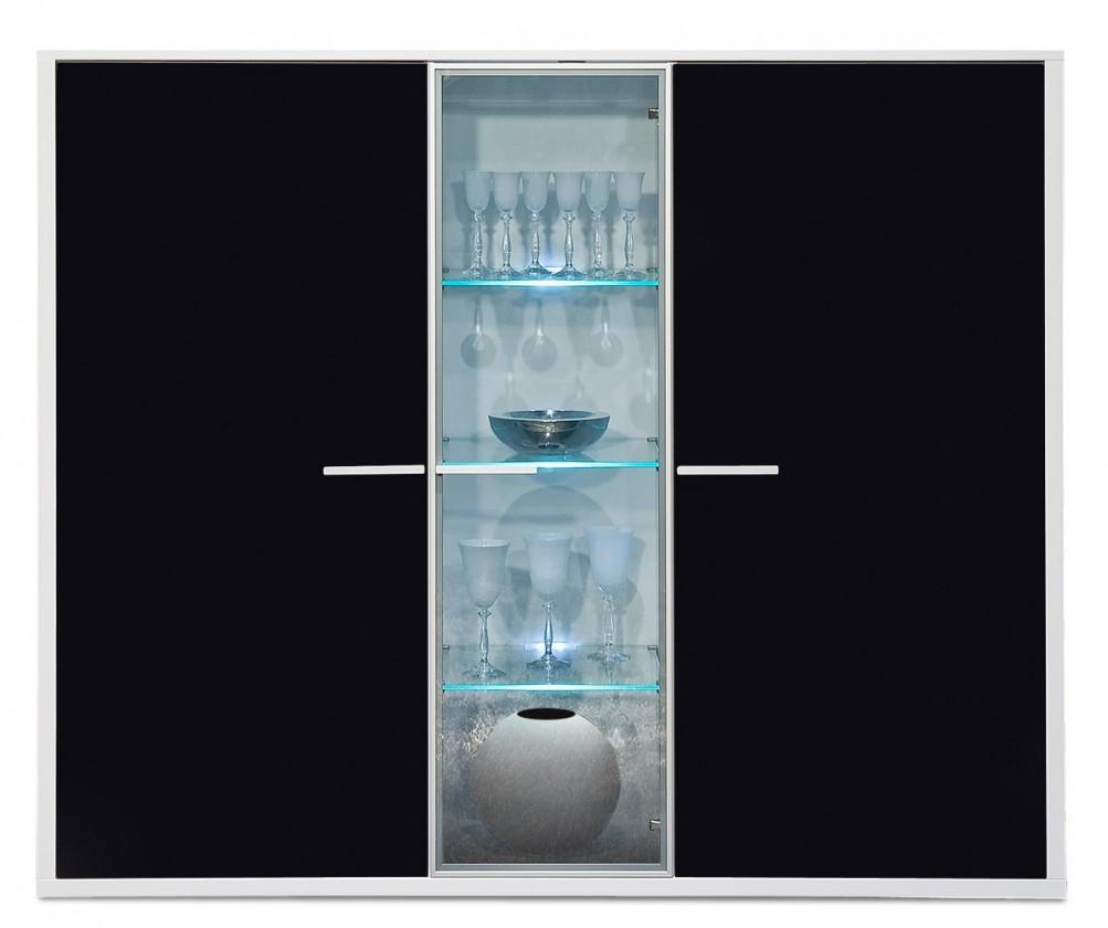 Komoda Game - komoda, 161 cm (biela/sklo čierne)