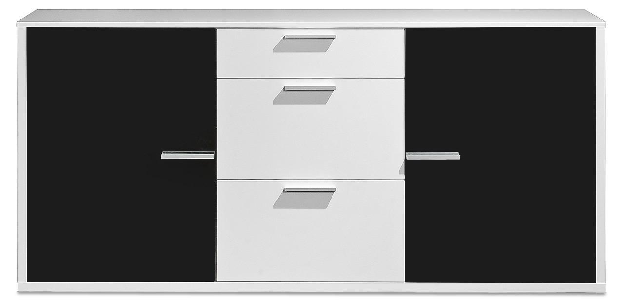 Komoda Game - komoda, 181 cm (biela/sklo čierne)