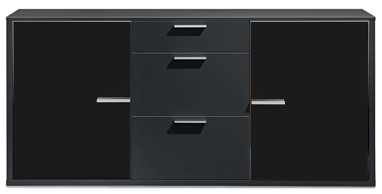 Komoda Game - komoda, 181 cm (čierna/sklo čierne)