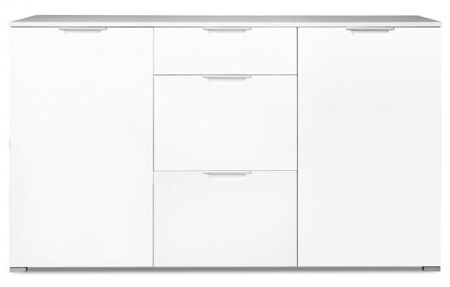 Komoda GW-Event - Skrinka, 3x zásuvka, 2x police, 144 cm (biela)