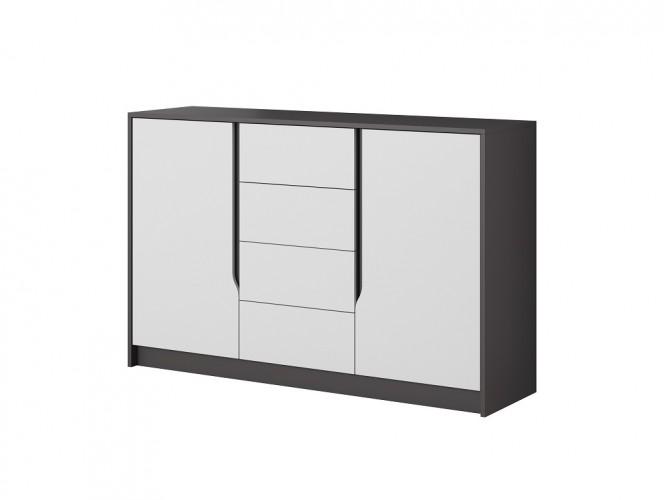 Komoda Klaudia (4x zásuvka, 2x dvierka, grafit, biela)
