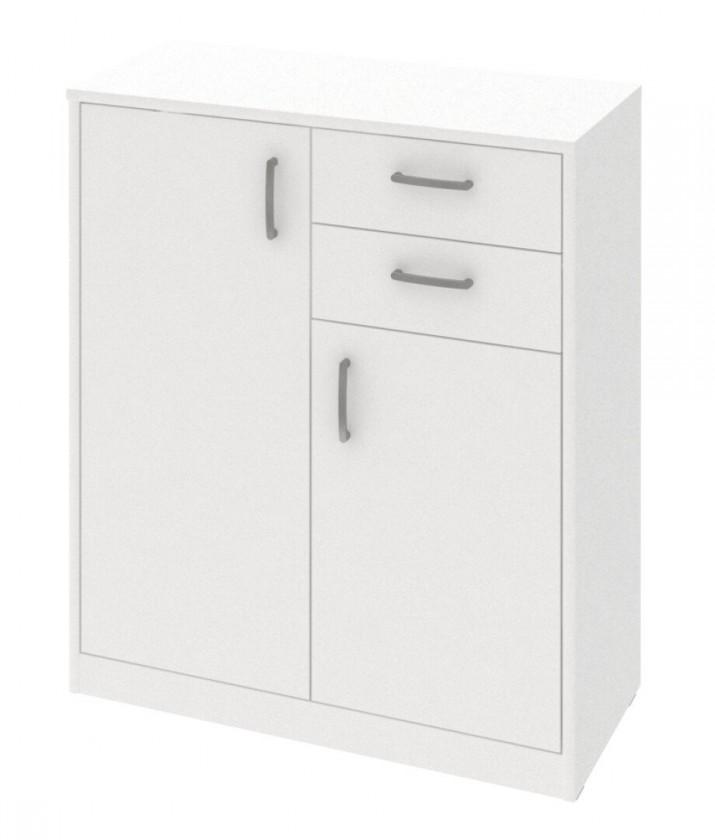 Komoda Kobo - komoda, 2 dvere, 2 zásuvky, 2 police (biela arctic)