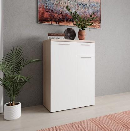 Komoda Komoda Artona (2x dvere, zásuvka, dub sonoma, biela)