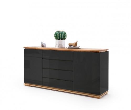 Komoda Komoda Chalco (2x dvere, 4 zásuvka, čierna, dub)