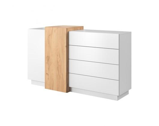 Komoda Komoda Duras (2x dvere, 4x zásuvka, lamino, biela/hnedá)