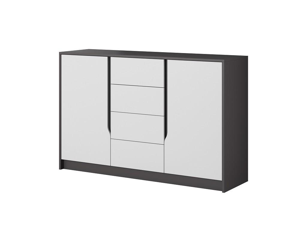 Komoda Komoda Klaudia (4x zásuvka, 2x dvierka, grafit, biela)