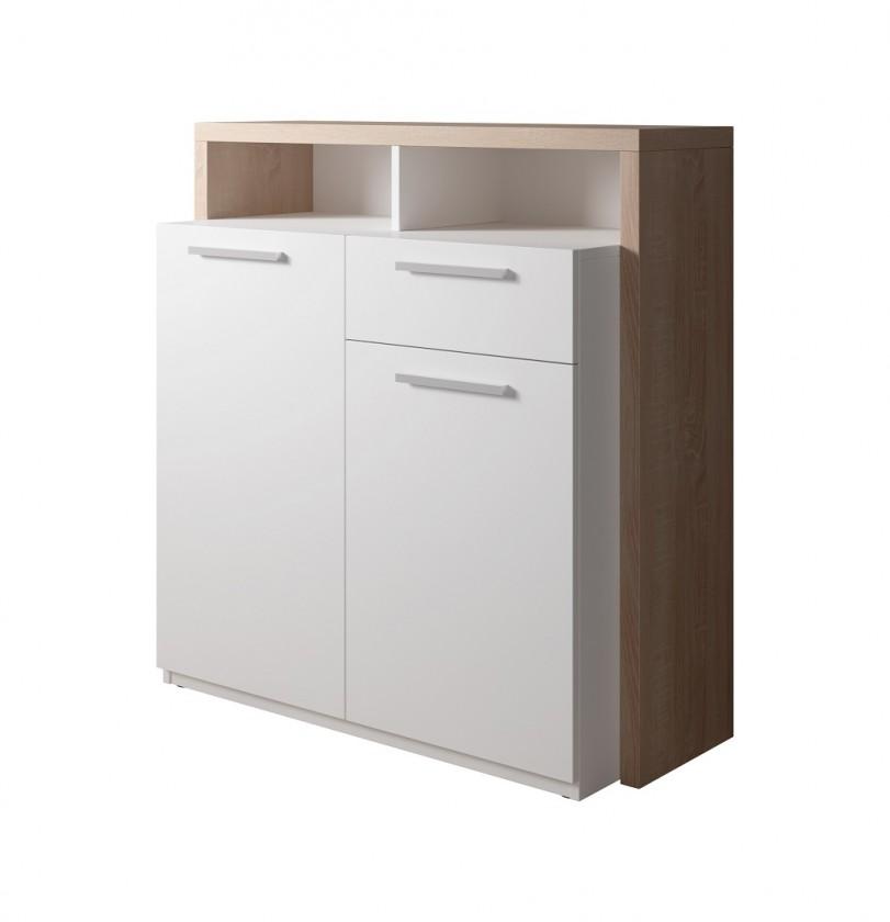 Komoda Komoda Segan (2x dvere, zásuvka, 2x polica, dub sonoma, biela)