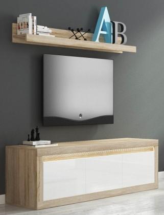 Komoda Lino II - TV komoda, závesná polica, LED (sonoma/biela lesk)