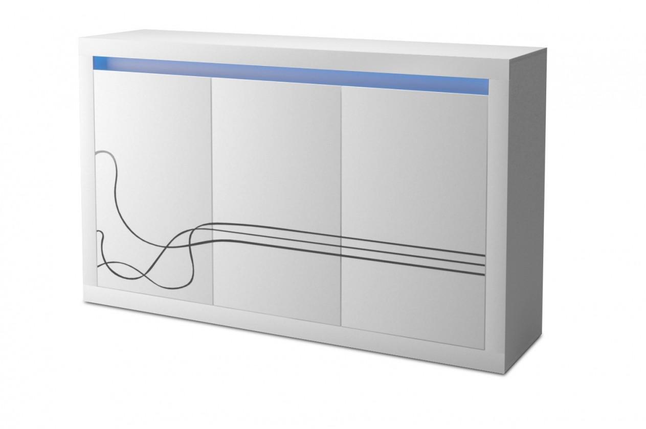 Komoda Lino - Komoda, trojdverová, LED osvetlenie (biela)