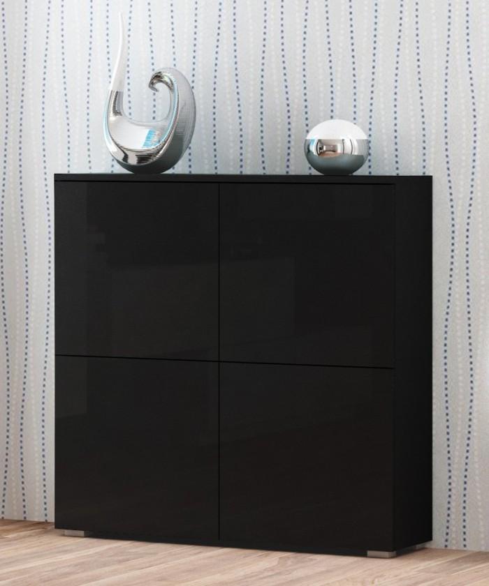 Komoda Livo - Komoda 100 (černá mat/černá lesk)
