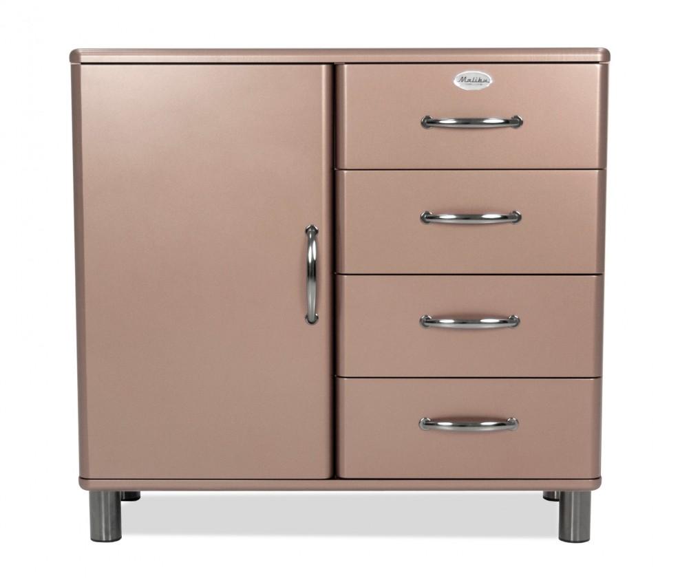 Komoda Malibu - Komoda (bronzová, 1x dvere, 4x zásuvka)