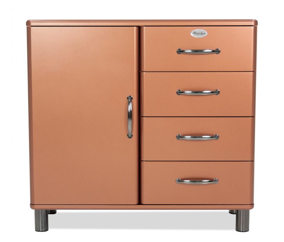 Komoda Malibu - Komoda (medená, 1x dvere, 4x zásuvka)