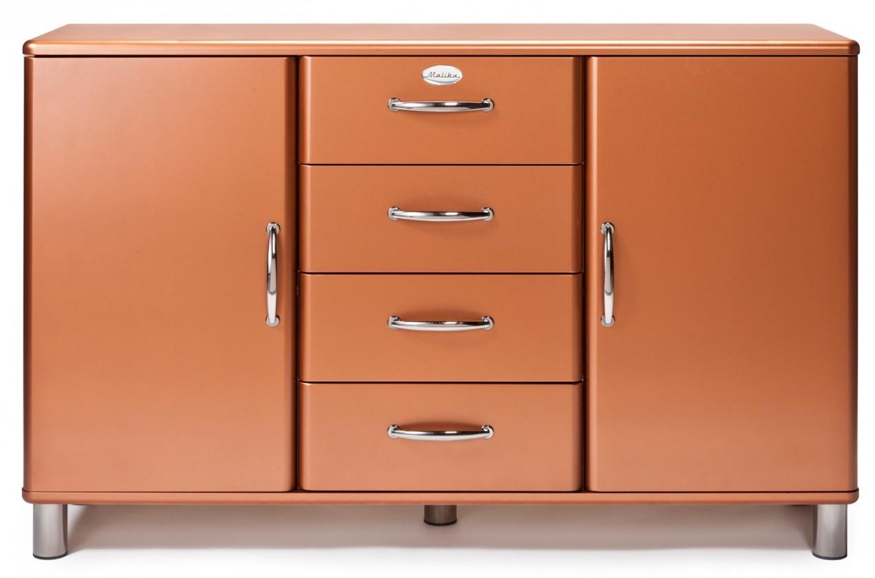 Komoda Malibu - Komoda (medená, 2x dvere, 4x zásuvka)