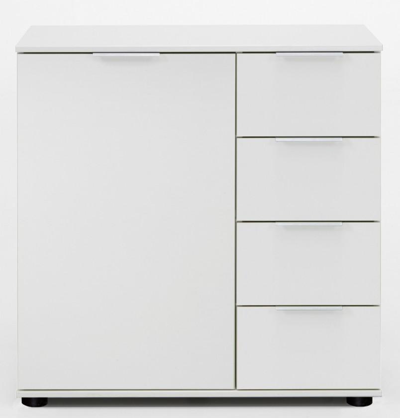 Komoda Medina - Komoda, 4x zásuvka, 1x dveře (alpská biela)