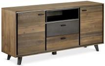 Komoda Mety (2x zásuvka, 2x dvere, drevo, hnedá)