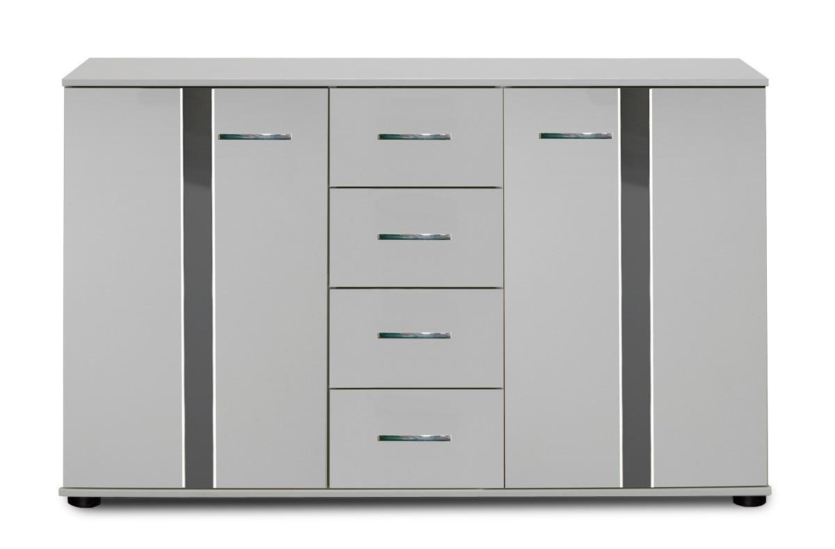 Komoda Nizza -komoda,2x dvere,4x zásuvka (alpská biela+sivá vysoký lesk)