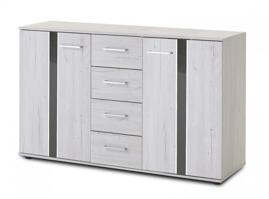 Komoda Nizza - komoda,2x dvere,4x zásuvka (dub biely+sivá vysoký lesk)