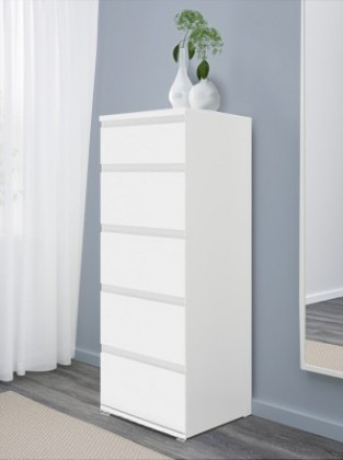 Komoda Nova - komoda, 5x zásuvka (biela)