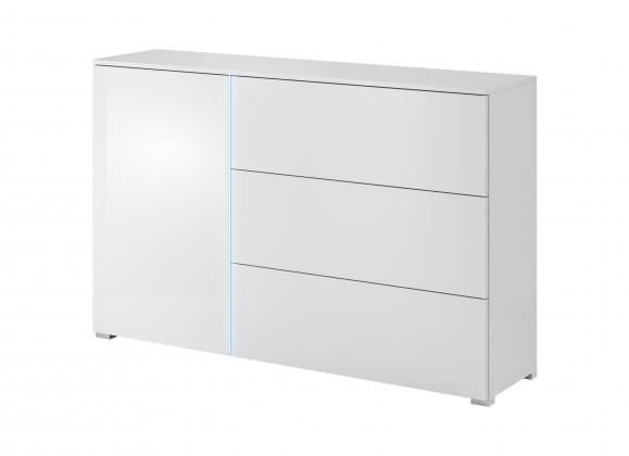 Komoda Obývačková komoda Simple (biela, biela lesk)