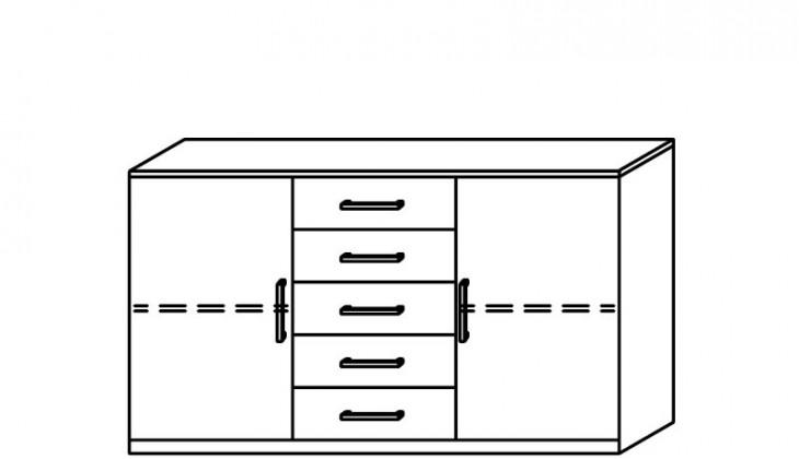 Komoda Quadra - komoda, 2x dvierka, 5x zásuvka