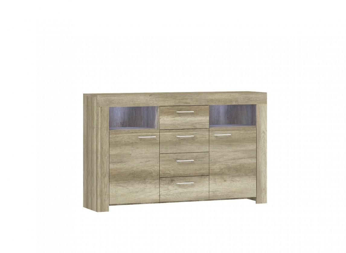 Komoda Sky - Komoda, 2x dvere, 4x zásuvka, 2x police, ABS (country sivá)