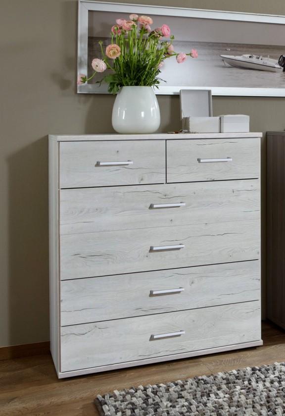 Komoda Sylt - Komoda 2, 6x zásuvka (dub biely, sivá)