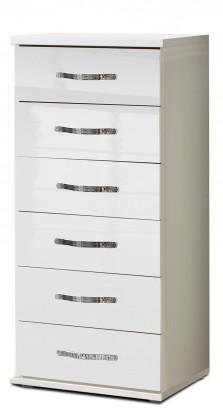 Komoda Trio - Komoda, 6x zásuvka (perleťová biela/alpská biela)