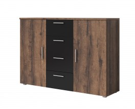Komoda Vera - kombi, 2x dvere + 4x zásuvka, dub