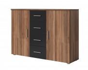 Komoda Vera - kombi, 2x dvere + 4x zásuvka, orech
