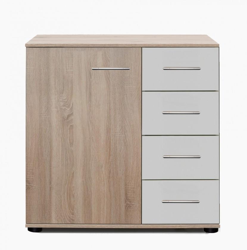 Komoda Vicenza - Komoda, 4x šuplík, 1x dvere (dub/alpská biela)