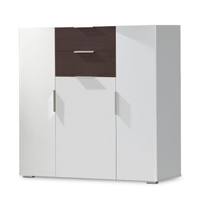 Komoda Viva - Komoda, 2x zásuvka, 3x dvere (alpská biela, lava čierna)