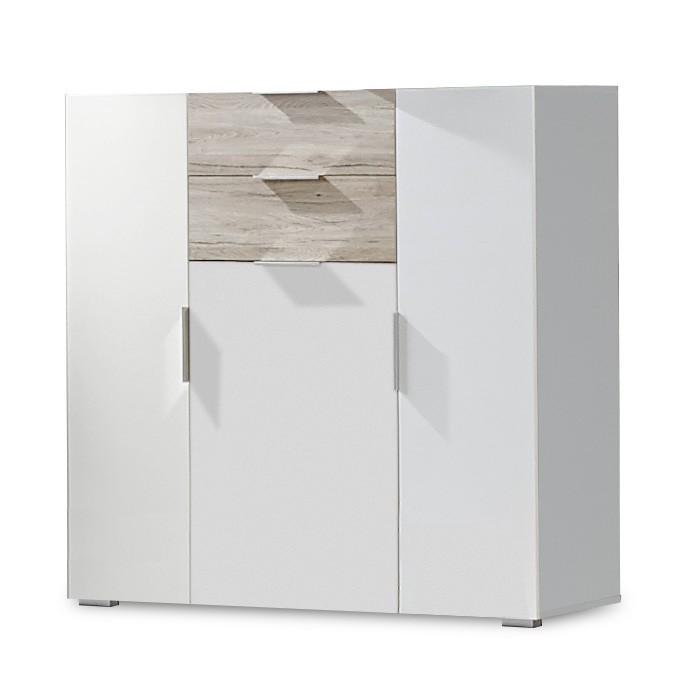 Komoda Viva - Komoda, 2x zásuvka, 3x dvere (dub san remo,alpská biela)