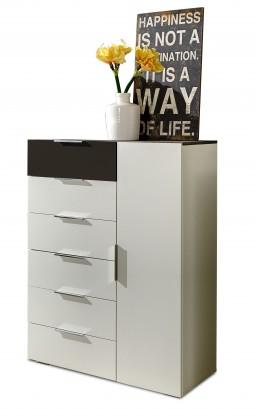 Komoda Viva - Komoda, 6x zásuvka, 1x dvere (alpská biela, lava čierna)
