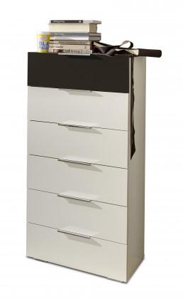Komoda Viva - Komoda, 6x zásuvka (alpská biela, lava čierna)