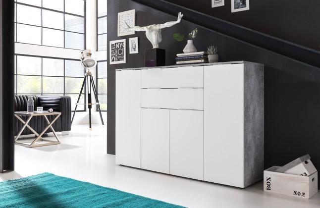 Komoda Viva - Obývacia komoda veľká (cement sivá/biela)