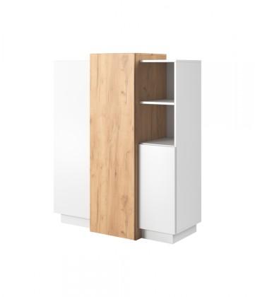 Komoda Vysoká komoda Duras (3x dvere, lamino, biela/hnedá)